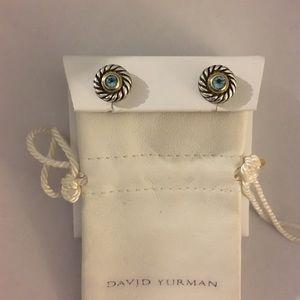 Authentic David Yurman blue topaz cookie earrings!
